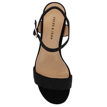 vue dessus sandales talon cuir metallise noir femme Jules & Jenn