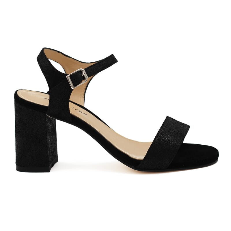 vue exterieure sandales talon cuir metallise noir femme Jules & Jenn