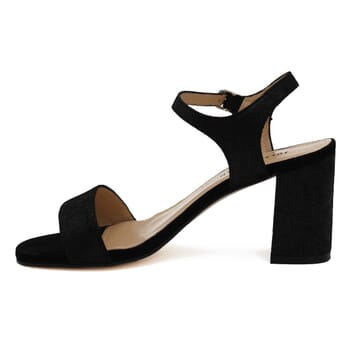 vue interieure sandales talon cuir daim noir femme Jules & Jenn