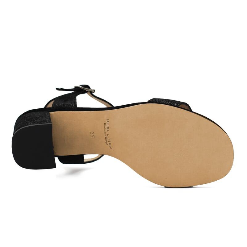 semelle cuir sandales talon cuir metallise noir femme Jules & Jenn