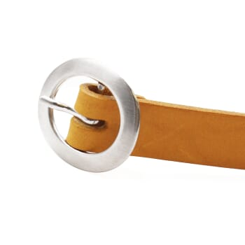 boucle de ceinture fine femme cuir jaune moutarde Jules & Jenn