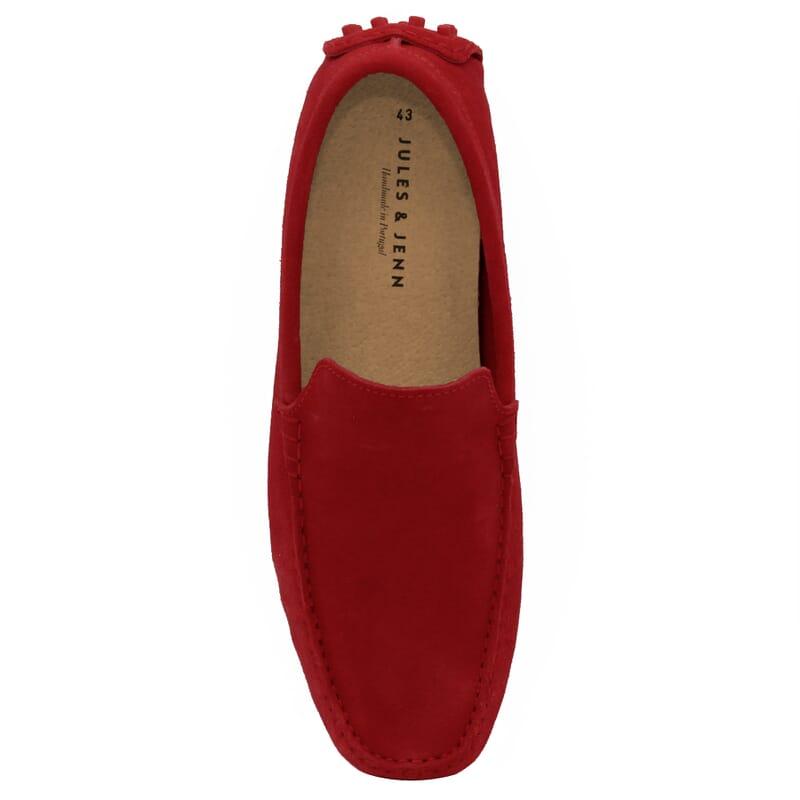 vue dessus mocassins cuir daim rouge Jules & Jenn