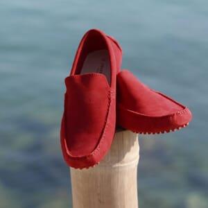 mocassins cuir daim rouge jules & jenn