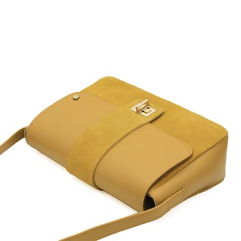 vue dessus sac bandouliere cuir jaune jules & jenn