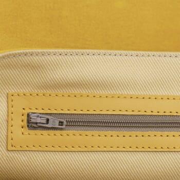 vue interieur sac bandouliere cuir jaune jules & jenn