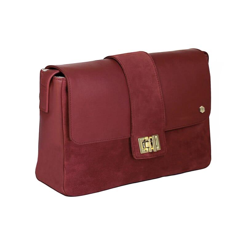 vue cote sac bandouliere cuir rouge jules & jenn