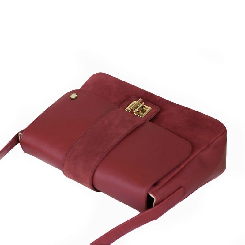 vue dessus sac bandouliere cuir rouge jules & jenn