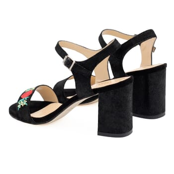 vue arriere sandales a talon cuir metallise noir broderie Jules & Jenn