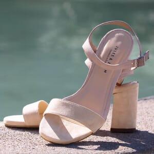 sandales talon cuir daim beige jules & jenn