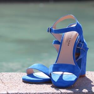 sandales talon cuir daim bleu jules & jenn