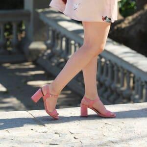 sandales talon cuir daim rose jules & jenn