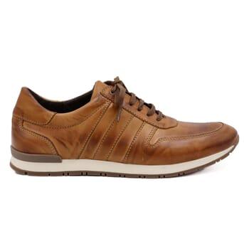 vue extérieure sneakers cuir cognac JULES & JENN