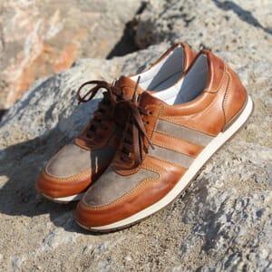 sneakers cuir cognac beige jules & jenn