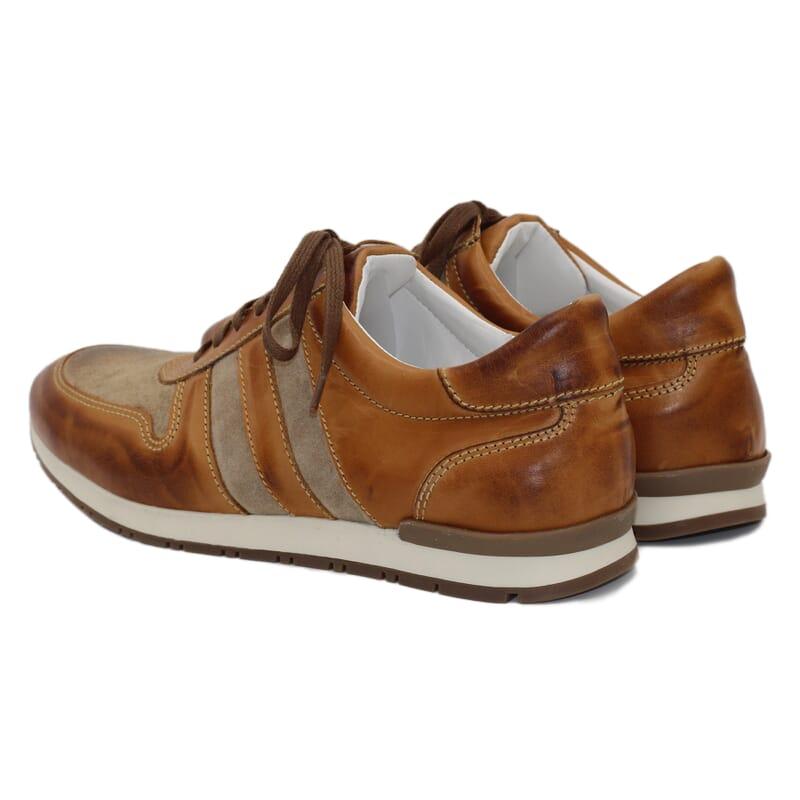 vue arriere Sneakers cuir cognac beige Jules & Jenn