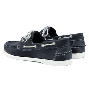 vue arrière chaussures bateau cuir bleu jules & jenn