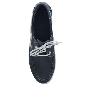 vue dessus chaussures bateau cuir bleu jules & jenn