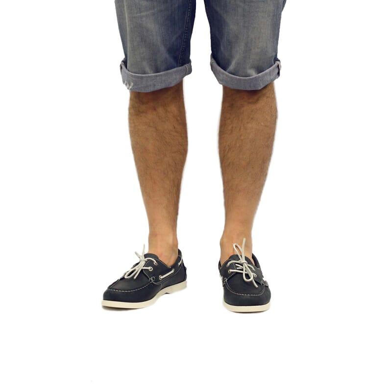 vue portée chaussures bateau cuir bleu jules & jenn