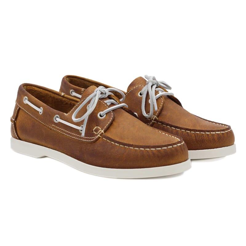 chaussures bateau cuir cognac jules & jenn