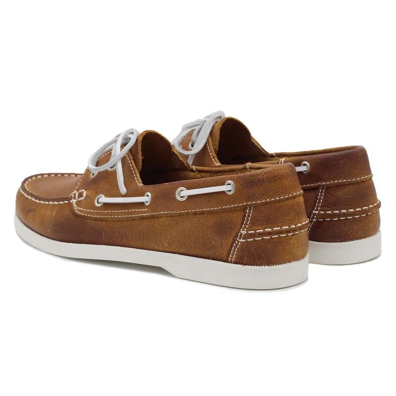 vue arriere chaussures bateau cuir cognac jules & jenn