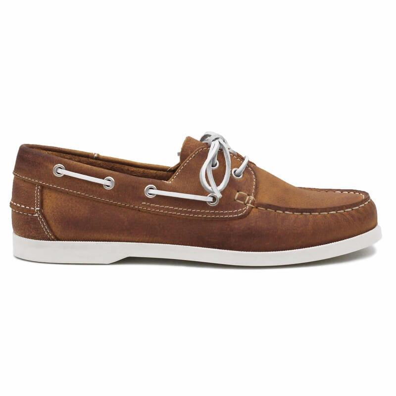 vue exterieure chaussures bateau cuir cognac jules & jenn