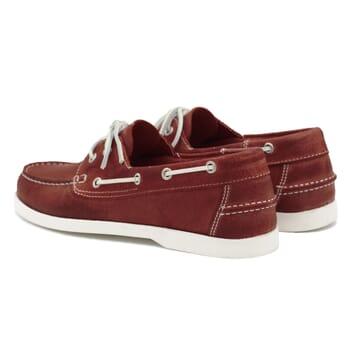 vue arrière chaussures bateau cuir rouge jules & jenn