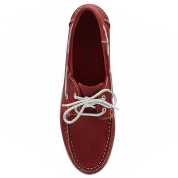 vue dessus chaussures bateau cuir rouge jules & jenn