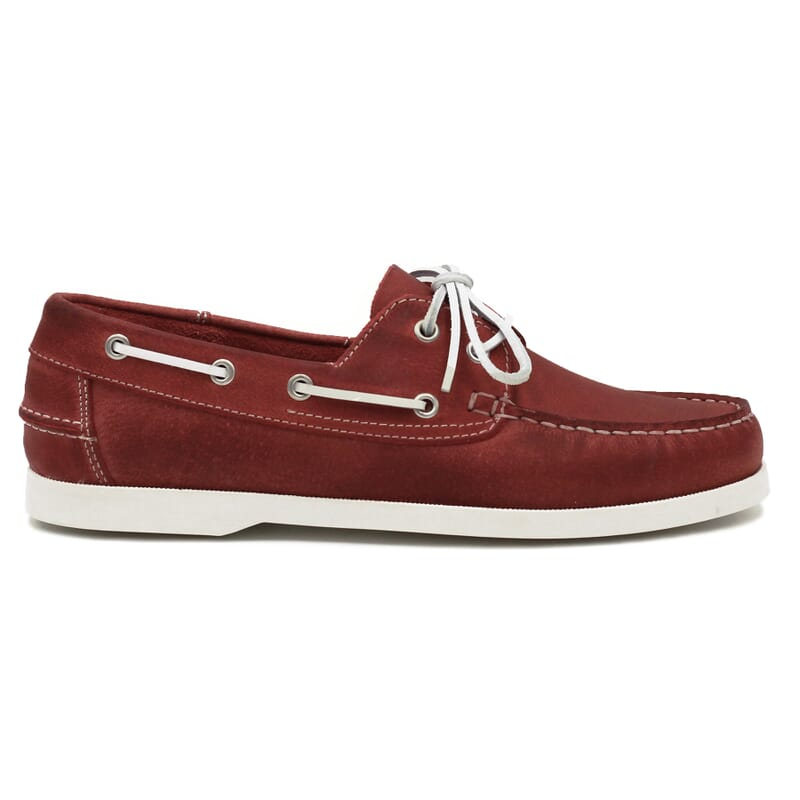 vue extérieure chaussures bateau cuir rouge jules & jenn