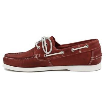 vue intérieure chaussures bateau cuir rouge jules & jenn