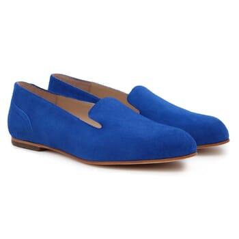 slippers plates cuir daim bleu royal Jules & Jenn