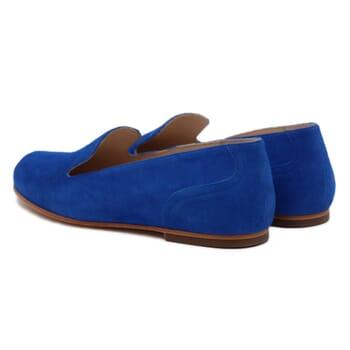 vue arriere slippers plates cuir daim bleu royal Jules & Jenn