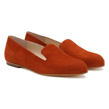 slippers plates cuir daim brique Jules & Jenn