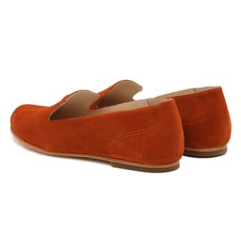 vue arriere slippers plates cuir daim brique Jules & Jenn