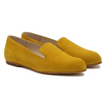 slippers plates cuir daim moutarde Jules & Jenn