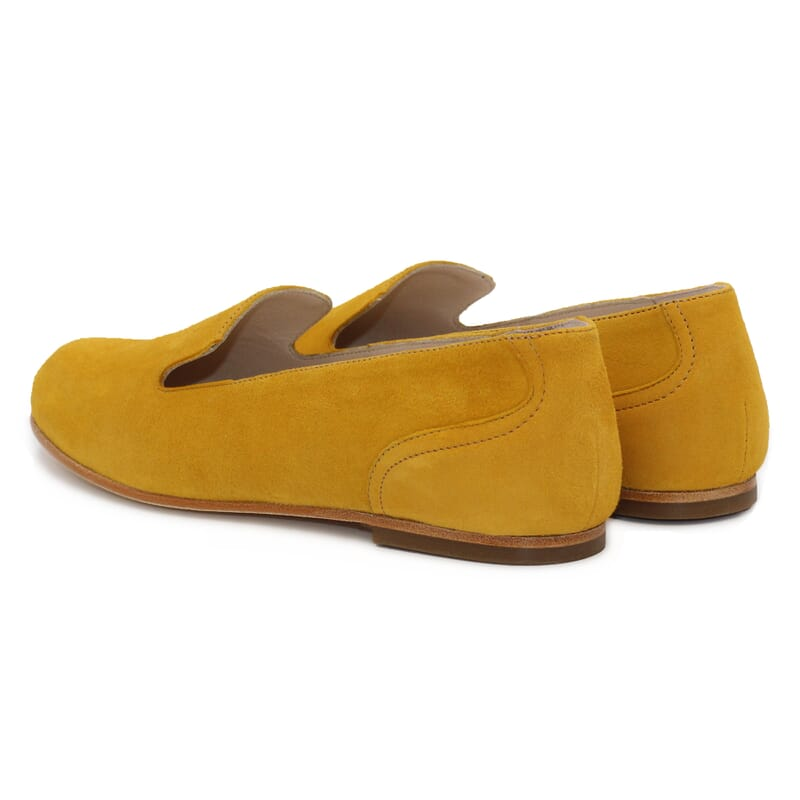 vue arriere slippers plates cuir daim moutarde Jules & Jenn