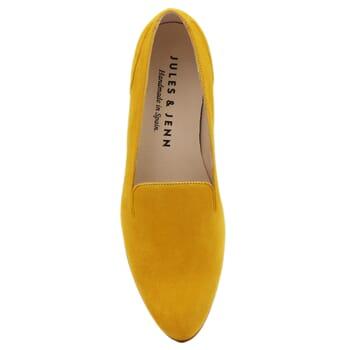 vue dessus slippers plates cuir daim moutarde Jules & Jenn