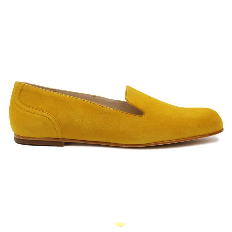 vue exterieure slippers plates cuir daim moutarde Jules & Jenn