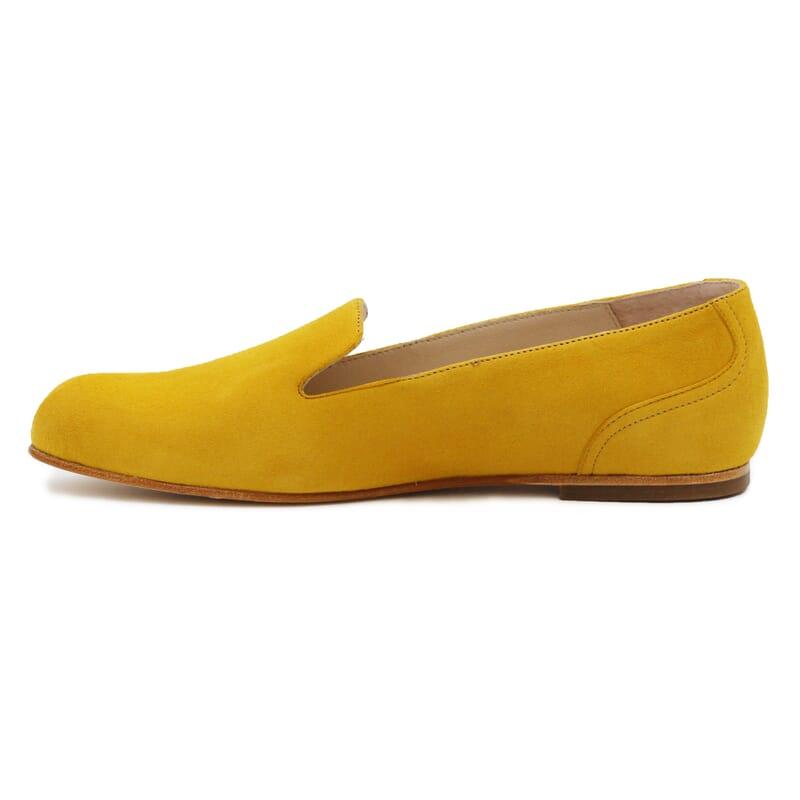 vue interieure slippers plates cuir daim moutarde Jules & Jenn