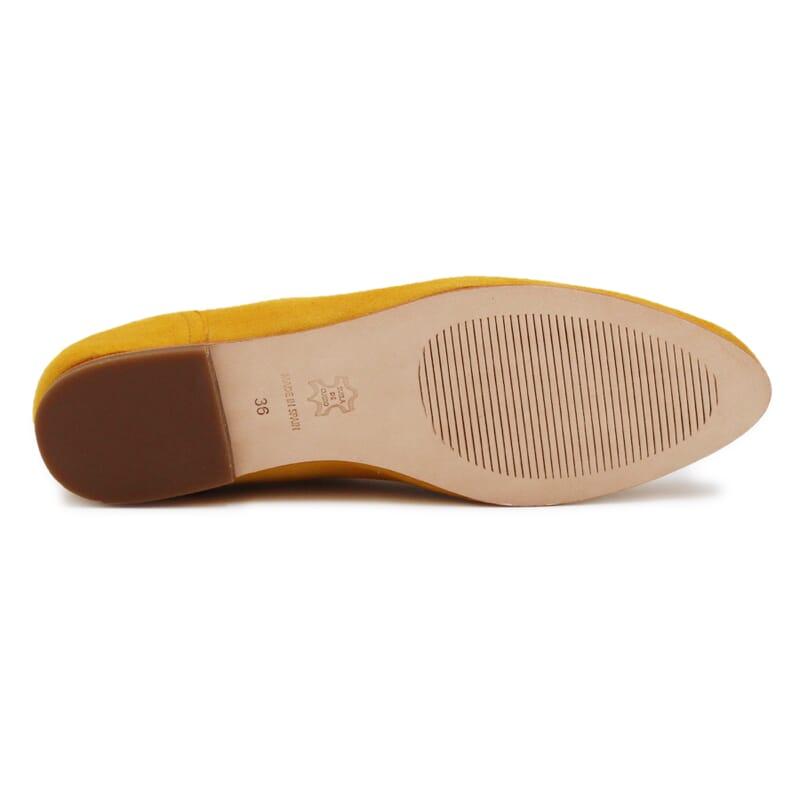 semelle cuir slippers plates daim moutarde Jules & Jenn