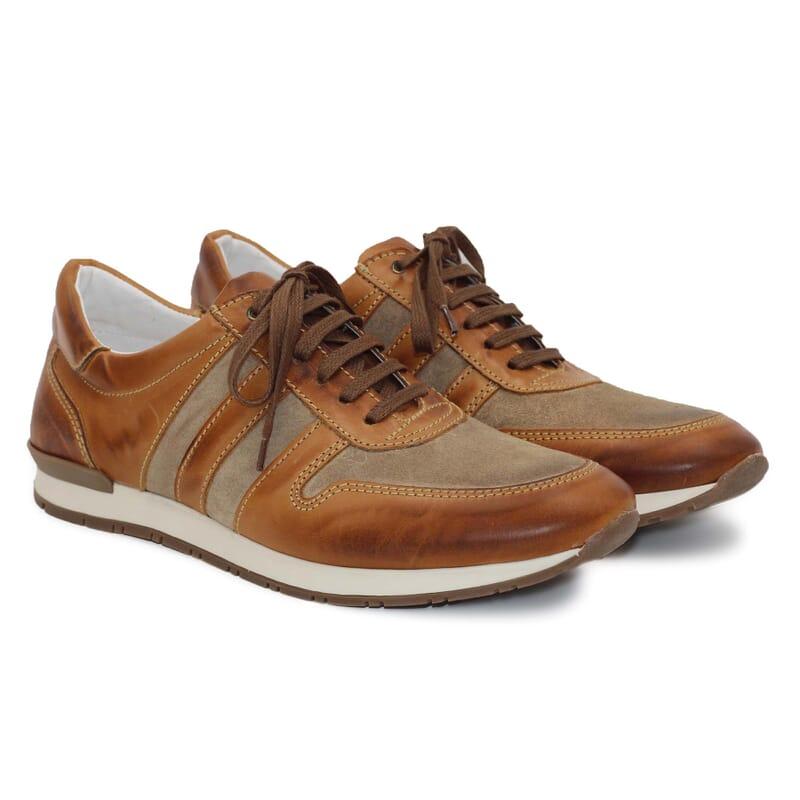sneakers cuir cognac et beige JULES & JENN