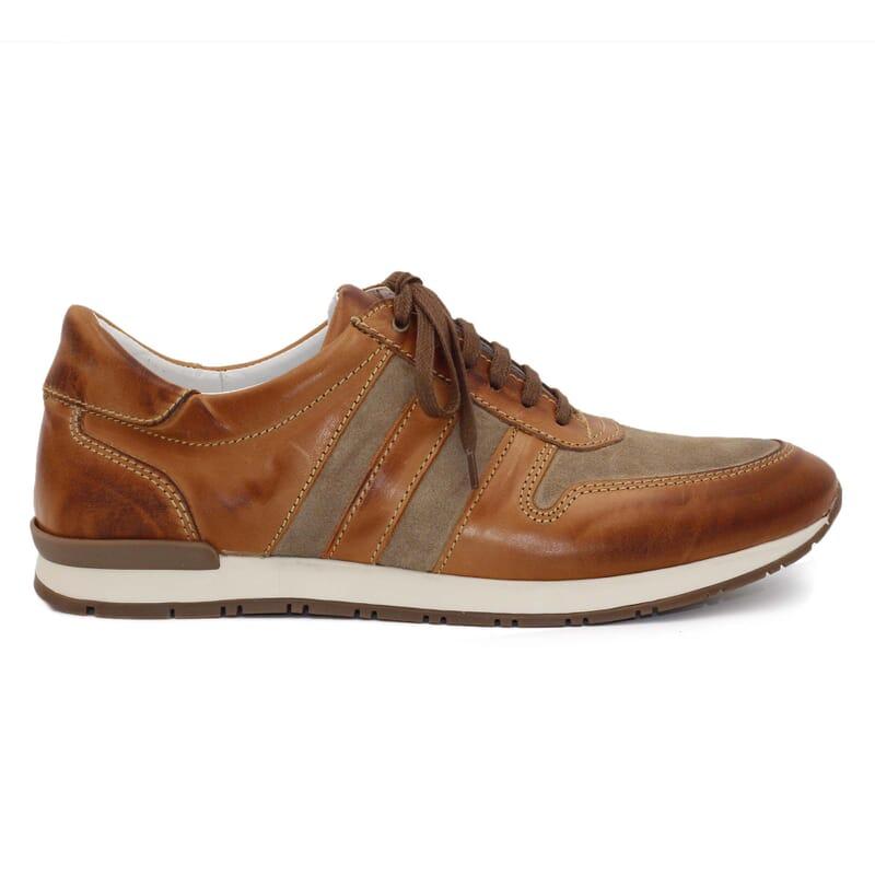 vue extérieure sneakers cuir cognac et beige JULES & JENN