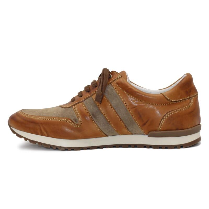 vue intérieure sneakers cuir cognac et beige JULES & JENN