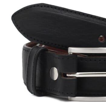 gros plan ceinture homme cuir noir fabriquee en France