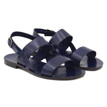 Sandales plates cuir bleu marine JULES & JENN