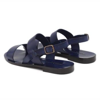 vue arriere Sandales plates cuir bleu marine JULES & JENN