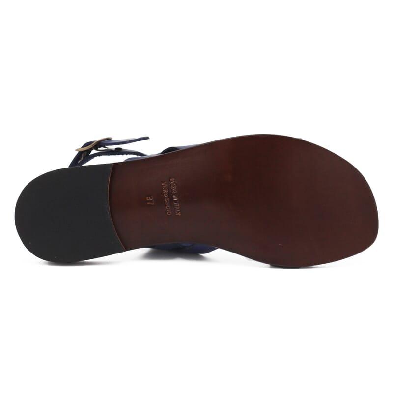 ve semelle Sandales plates cuir bleu marine JULES & JENN