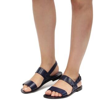 sandales plates cuir bleu jules & jenn