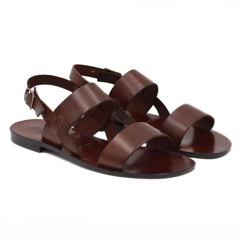 Sandales plates cuir marron cognac JULES & JENN