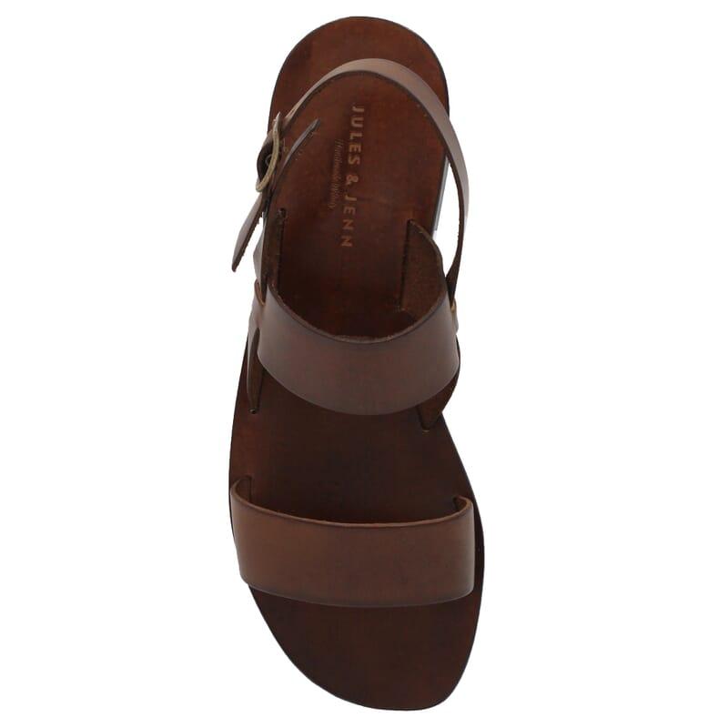 vue dessus Sandales plates cuir marron cognac JULES & JENN