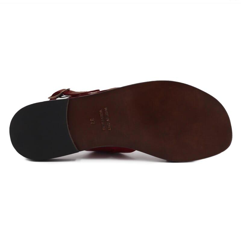 vue semelle Sandales plates cuir marron cognac JULES & JENN