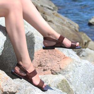 sandales plates cuir marron jules & jenn